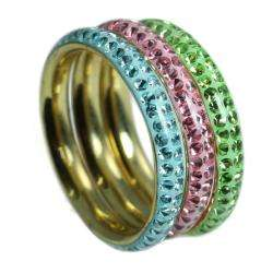 Goldplated Sterling Silver Multi colored Crystal Rings (Set of 3