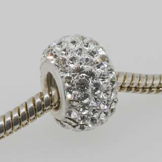 White Swarovski Crystal 925 Silver Square Charm Beads