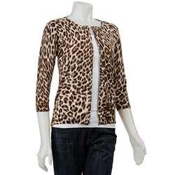 Philosophy Womens 3/4 sleeve Leopard Print Cardigan