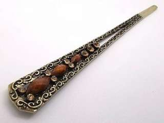 Vintage Bronze Brown Beige Swarovski Crystal Hair Pin Stick Fork