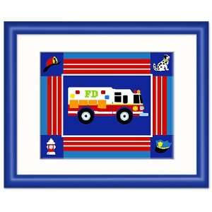 Olive Kids Heroes Rescue Vehicle Framed Print (dark blue