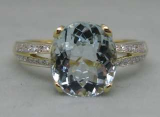 75CT SOLID 14K Y/GOLD NATURAL AQUAMARINE DIAMOND RING