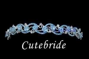 Light Blue Headband Style Crystal Party Tiara Crown 8005A