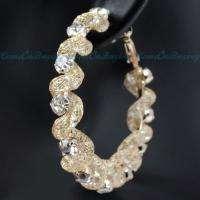 Golden Nets Circle White Crystal Rhinestone Loop Hoop Earrings A575