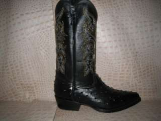 New 2011 Mens Embossed Ostrich Leather Black Boots