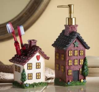 COUNTRY HOUSES BATHROOM SINK ACCESSORY SOAP & TOOTHBRUSH SET NEW