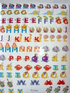 NRN ALPHABET LETTERS Kids Theme Scrapbook Stickers NEW