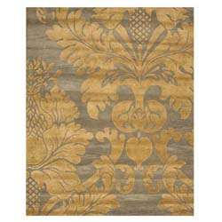 Hand tufted Avalon Blue/ Gold Wool Rug (79 x 99)