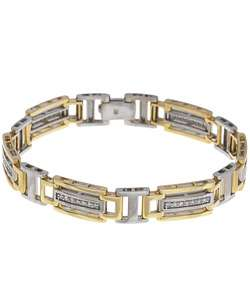 14k Two tone Gold 1ct TDW Diamond Mens Bracelet
