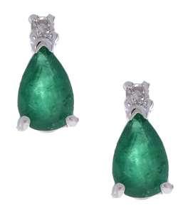 14k White Gold Pear shaped Emerald Earrings