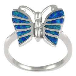 Sterling Silver Blue Opal Butterfly Ring