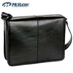 McKlein Sheffield Black Leather Laptop Messenger Bag