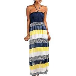 Womens Navy Yellow Bold Sriped Long Beach Dress  