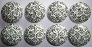 Handmad Black n White Damask Dresser Drawer Knobs Bedding and Nusery