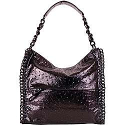 Black Faux Leather Embossed Chain detail Tote Bag