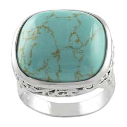 Sterling Silver Created Turquoise Filigree Ring