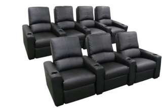 EROS Home Theater Seating 7 Black Seats Recliner Chairs