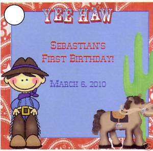 Personalized Cowboy Party Favor Tags~Horse~Western