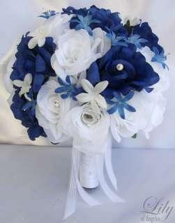 Bride Bouquet Flowers Decorations Package ROYAL BLUE WHITE