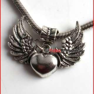 Bulk 20x Tibetan Silver Heart Wings Pendant Beads P1536