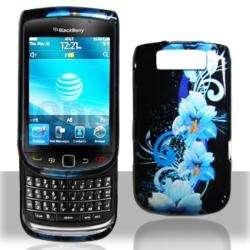 Premium BlackBerry Torch 9800 Blue Flower Case
