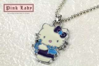 W175 Cute Purple Style Kitty Pendant Charm Necklace