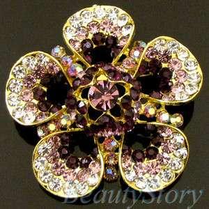 1pc Rhinestone crystal flower brooch pin wedding bridal