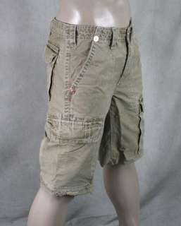 True Religion Jeans Mens ISAAC Cargo SHORTS Wheat brown MAR841EH