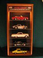 LIGHTED 118 DIECAST MODEL 5 CAR CHEVROLET DISPLAY CASE
