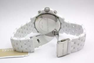 New Michael Kors Women Midsize Chronograph White Crystal Pearl Watch
