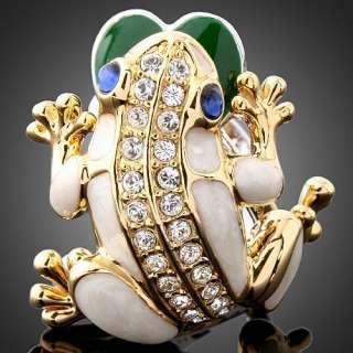 ARINNA Cute Frog Swarovski Crystal WGP Cocktail Ring