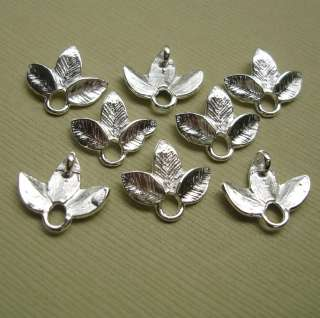Small Leaf Branch Connector Charm White Gold Plated   10pcs.