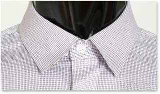 Premium Slim Fit White Checked Mens Dress Shirts US S