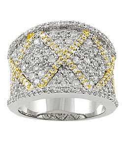 Sterling Silver Two tone Cubic Zirconia Pave Ring with X Design