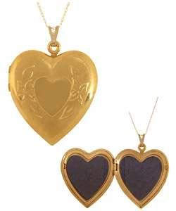 10k Gold Large Engraved Heart Locket Necklace