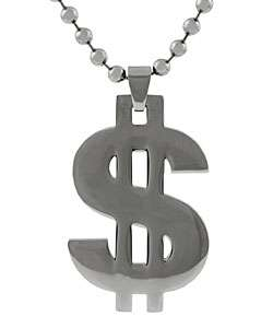 Stainless Steel Polished Dollar Sign Necklace