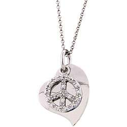 Sterling Silver Diamond Accent Peace and Love Necklace
