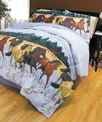 Wild Horses 4 Piece Bedding Set Reversible Comforter, Bedskirt & 2