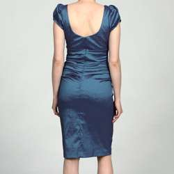 Fashions Womens Steel Blue Ruched Puff sleeve Dress