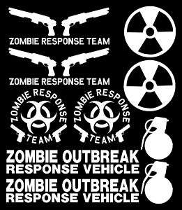 Zombie Response Team Vinyl Decal Set Zombieland Sticker