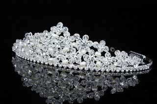 Bridal Wedding Crystal Rhinestone Pearl Prom Crown Tiara V714