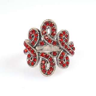 VTG White GP Ring Red Swarovski Crystals R510R