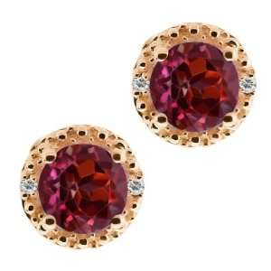 2.02 Ct Round Red Rhodolite Garnet and White Topaz 18k