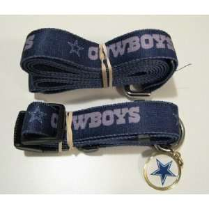 DALLAS COWBOYS PET SET (DOG COLLAR LEASH ID) *ALL SIZES* NEW   SHIPS