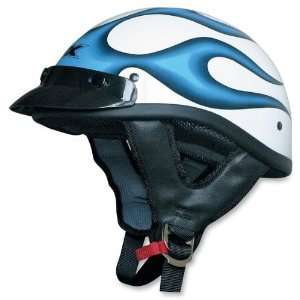 AFX FX 70 BEANIE MOTORCYCLE HELMET ICE BLUE FLAME 2XL