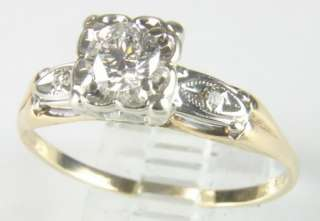 LADIES 14K YELLOW GOLD DIAMOND ANTIQUE ENGAGEMENT RING