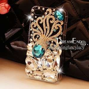 Bling Crystal iPhone 4G 4S Clear Case Cover Bling Sea octopus