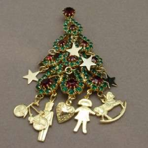 Christmas Tree Pin Charms Toys Rhinestones Kirks Folly Brooch Xmas