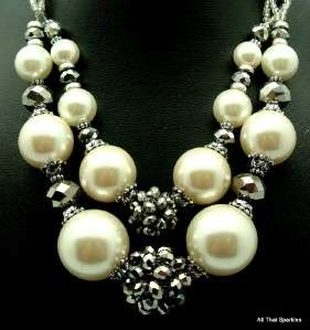 Big Bold Chunky Faux Pearl Crystal Fashion Necklace