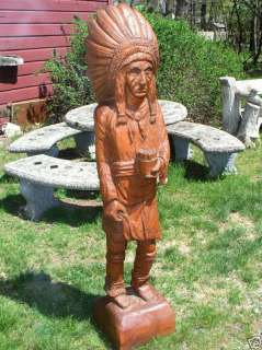 AMERICAN FOLK ART HAND WOODEN CIGAR STORE CARVED INDIAN